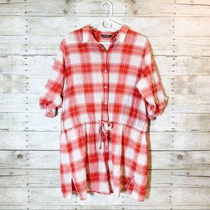 Red and cream plaid  long shirt cinched drawstring
